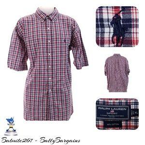XL Polo Ralph Lauren Sport Plaid Shirt S/S Red
